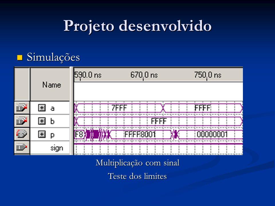 Projeto desenvolvido Simulações Simulações Multiplicação com sinal Teste dos limites