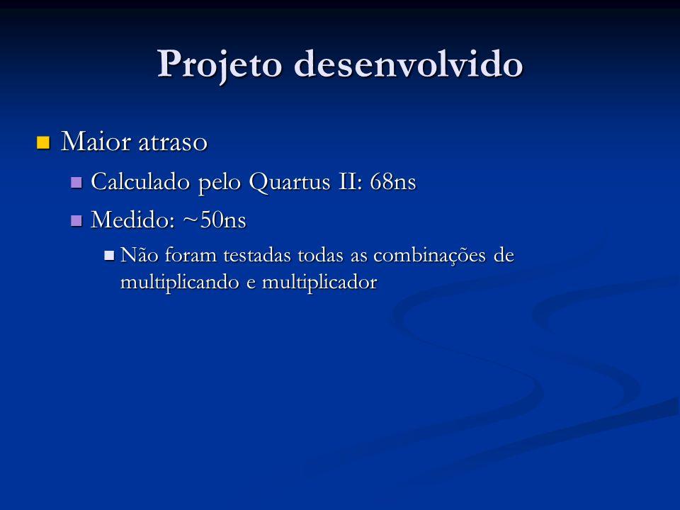 Projeto desenvolvido Maior atraso Maior atraso Calculado pelo Quartus II: 68ns Calculado pelo Quartus II: 68ns Medido: ~50ns Medido: ~50ns Não foram t