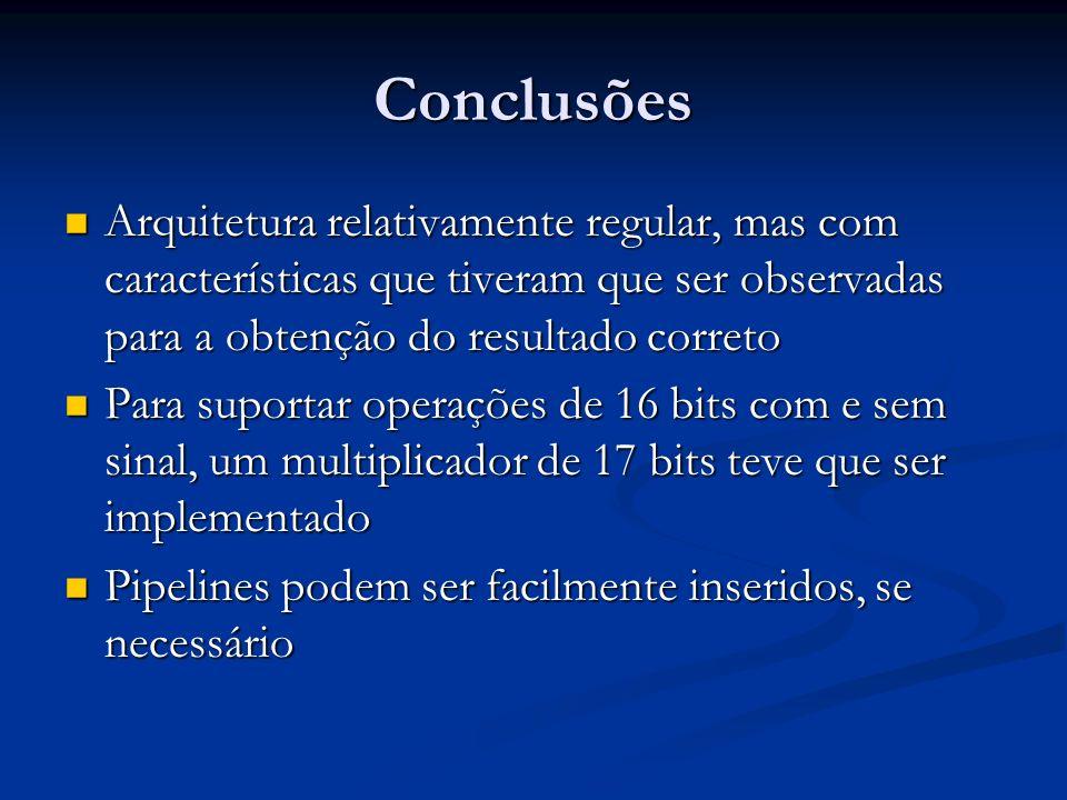 Conclusões Arquitetura relativamente regular, mas com características que tiveram que ser observadas para a obtenção do resultado correto Arquitetura