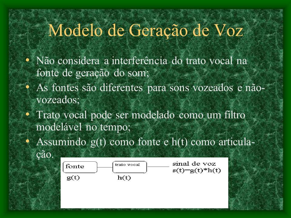 Modelo de Geração de Voz Não considera a interferência do trato vocal na fonte de geração do som; As fontes são diferentes para sons vozeados e não- vozeados; Trato vocal pode ser modelado como um filtro modelável no tempo; Assumindo g(t) como fonte e h(t) como articula- ção.