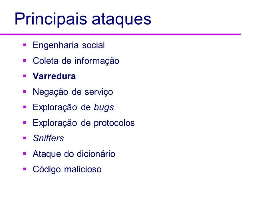 Principais ataques Engenharia social Coleta de informação Varredura Negação de serviço Exploração de bugs Exploração de protocolos Sniffers Ataque do