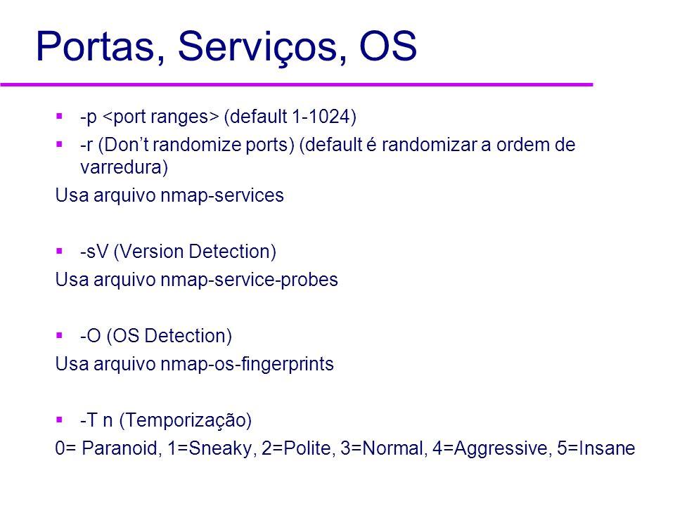 Portas, Serviços, OS -p (default 1-1024) -r (Dont randomize ports) (default é randomizar a ordem de varredura) Usa arquivo nmap-services -sV (Version