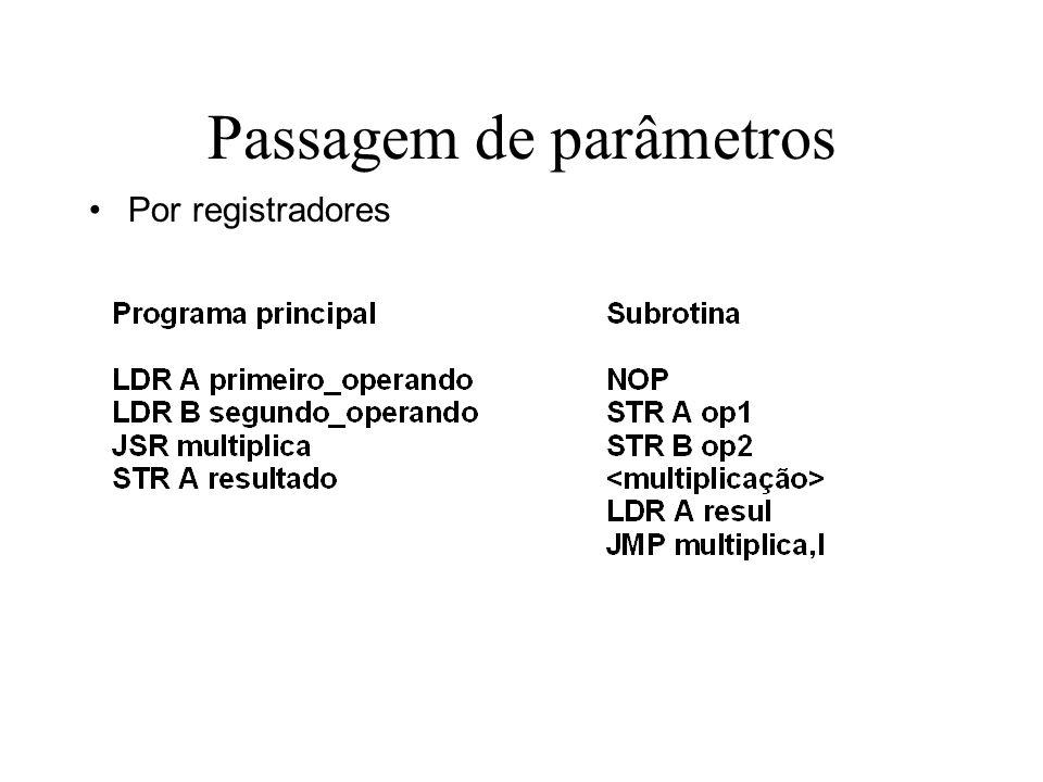 Passagem de parâmetros Por registradores