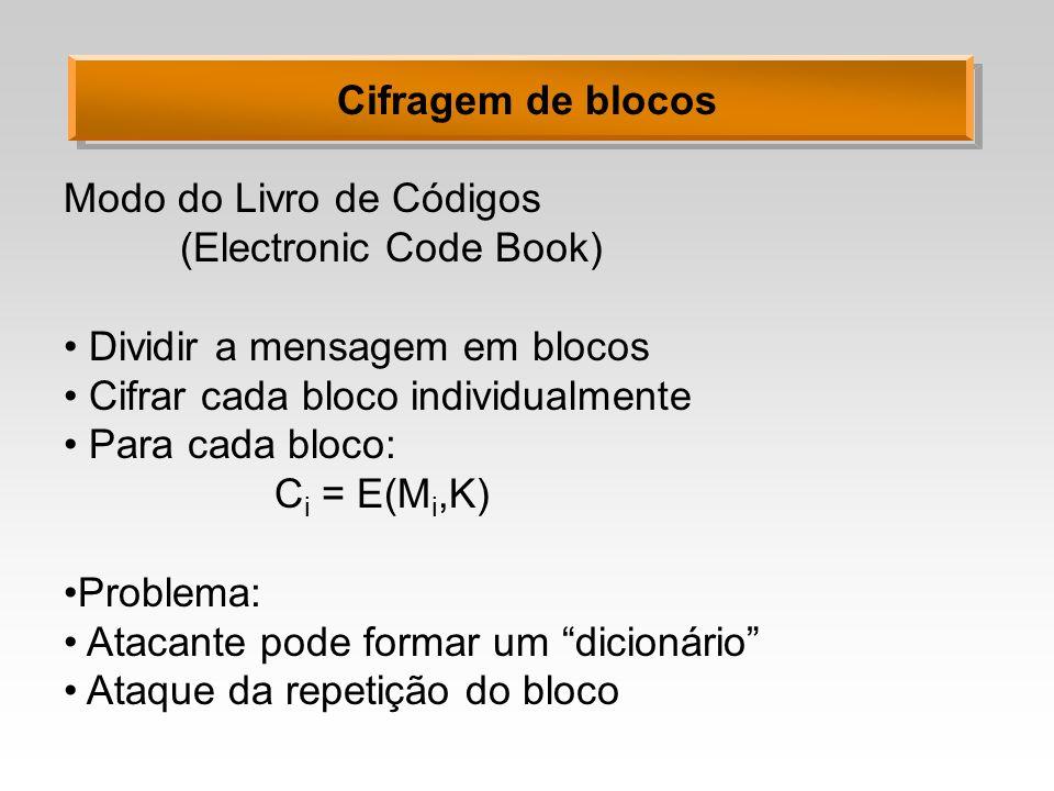 Cifragem de blocos Modo de Encadeamento de Blocos (Cipher Block Chaining) Dividir a mensagem em blocos Cifrar cada bloco Realimentar com o bloco anterior Para cada bloco: C i = E(M i xor C i-1,K) Problema: Primeiro bloco .