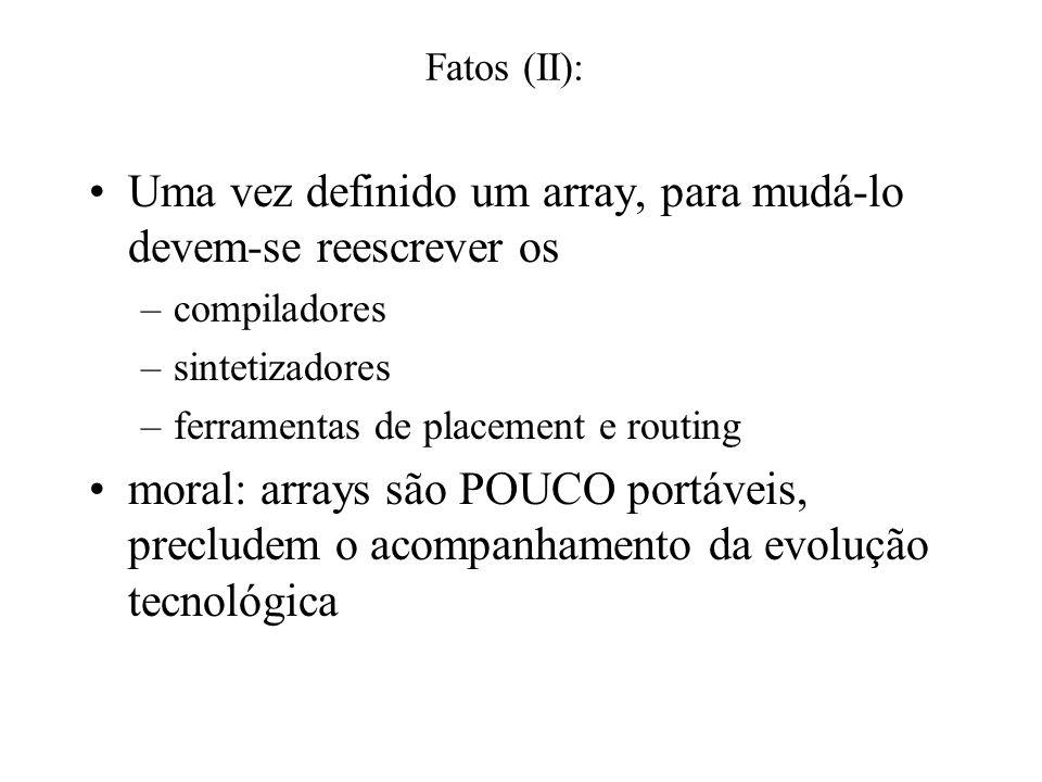 Fatos (I): Arrays aceleram somente quando há paralelismo A reconfiguração toma tempo, potência e área Se não houver paralelismo, não há ganhos Já vimo