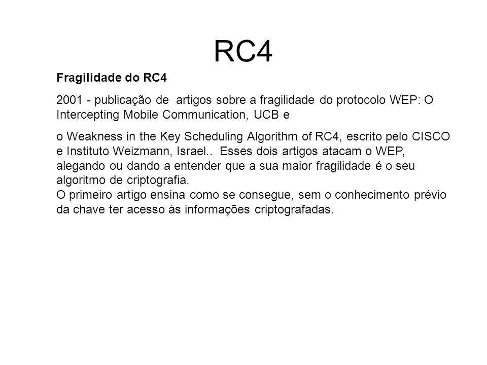 RC4 Fragilidade do RC4 2001 - publicação de artigos sobre a fragilidade do protocolo WEP: O Intercepting Mobile Communication, UCB e o Weakness in the