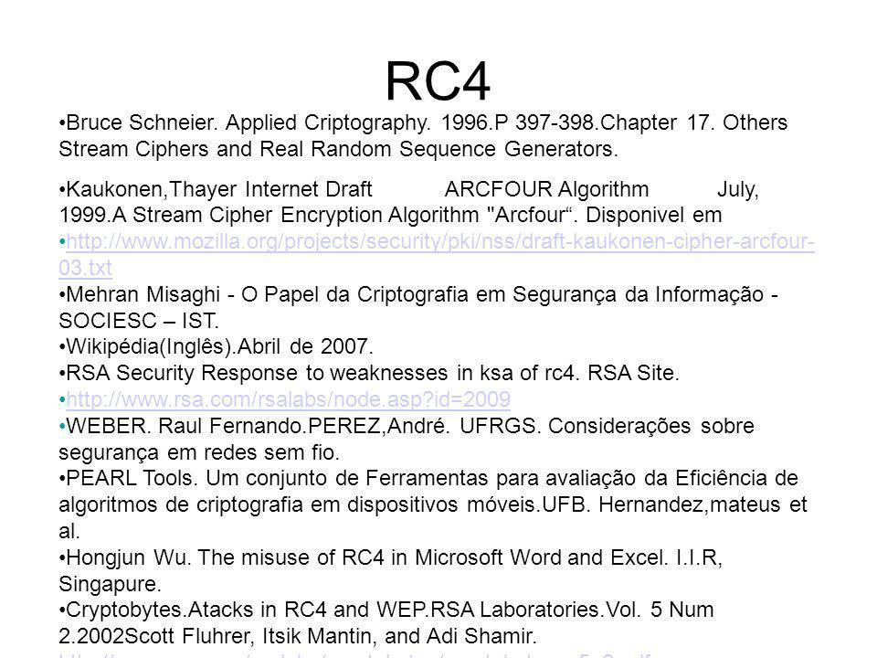 RC4 Bruce Schneier. Applied Criptography. 1996.P 397-398.Chapter 17. Others Stream Ciphers and Real Random Sequence Generators. Kaukonen,Thayer Intern