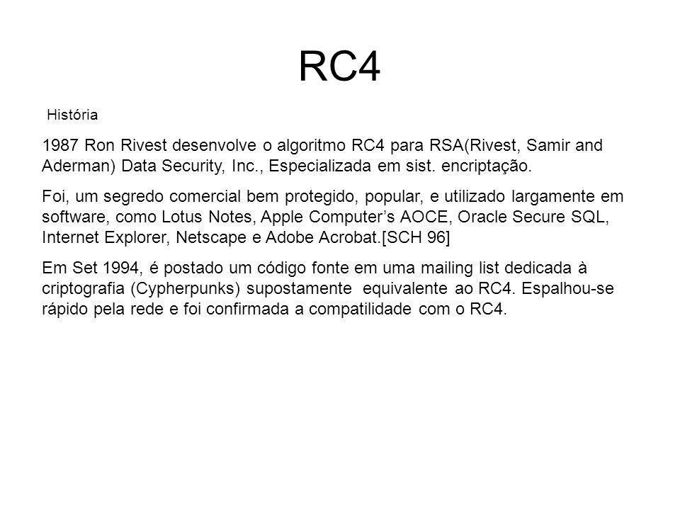 RC4 Sistemas de criptografia baseados no RC4 WEP e WPA CipherSaber BitTorrent protocol encryption Microsoft Point-to-Point Encryption SSL- Secure Sockets Layer (optionally) Secure shell (optionally) Kerberos (optionally) MSOffice 2002 / 2003