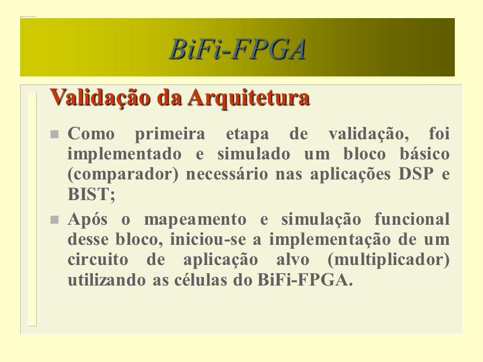 Conclusões BiFi-FPGA n Os resultados obtidos através da simulação do bloco básico e do circuito alvo destinados à aplicações em DSP e BIST foram bastante satisfatórios; n Nenhum estudo referente à estimativa de redução de área utilizando-se o BiFi-FPGA foi desenvolvido até o presente momento;