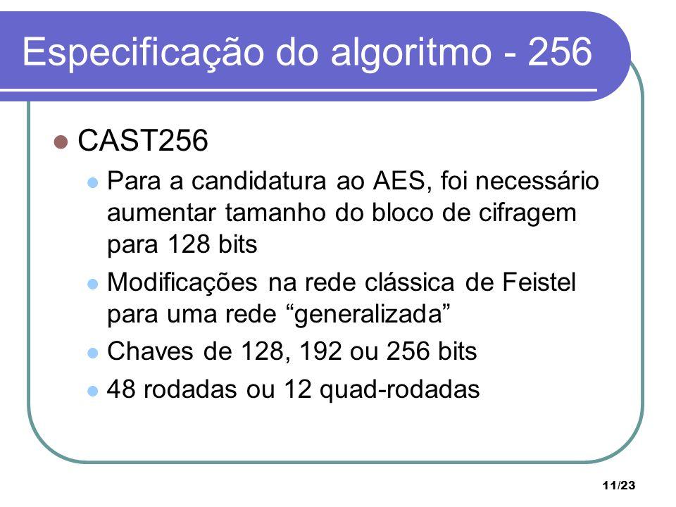 11/23 Especificação do algoritmo - 256 CAST256 Para a candidatura ao AES, foi necessário aumentar tamanho do bloco de cifragem para 128 bits Modificações na rede clássica de Feistel para uma rede generalizada Chaves de 128, 192 ou 256 bits 48 rodadas ou 12 quad-rodadas