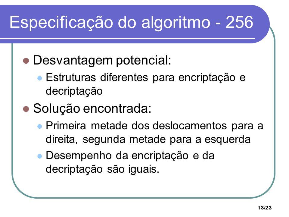 13/23 Especificação do algoritmo - 256 Desvantagem potencial: Estruturas diferentes para encriptação e decriptação Solução encontrada: Primeira metade dos deslocamentos para a direita, segunda metade para a esquerda Desempenho da encriptação e da decriptação são iguais.