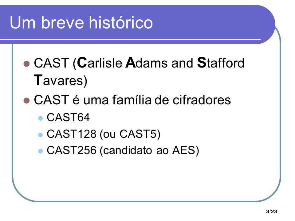 3/23 Um breve histórico CAST ( C arlisle A dams and S tafford T avares) CAST é uma família de cifradores CAST64 CAST128 (ou CAST5) CAST256 (candidato ao AES)
