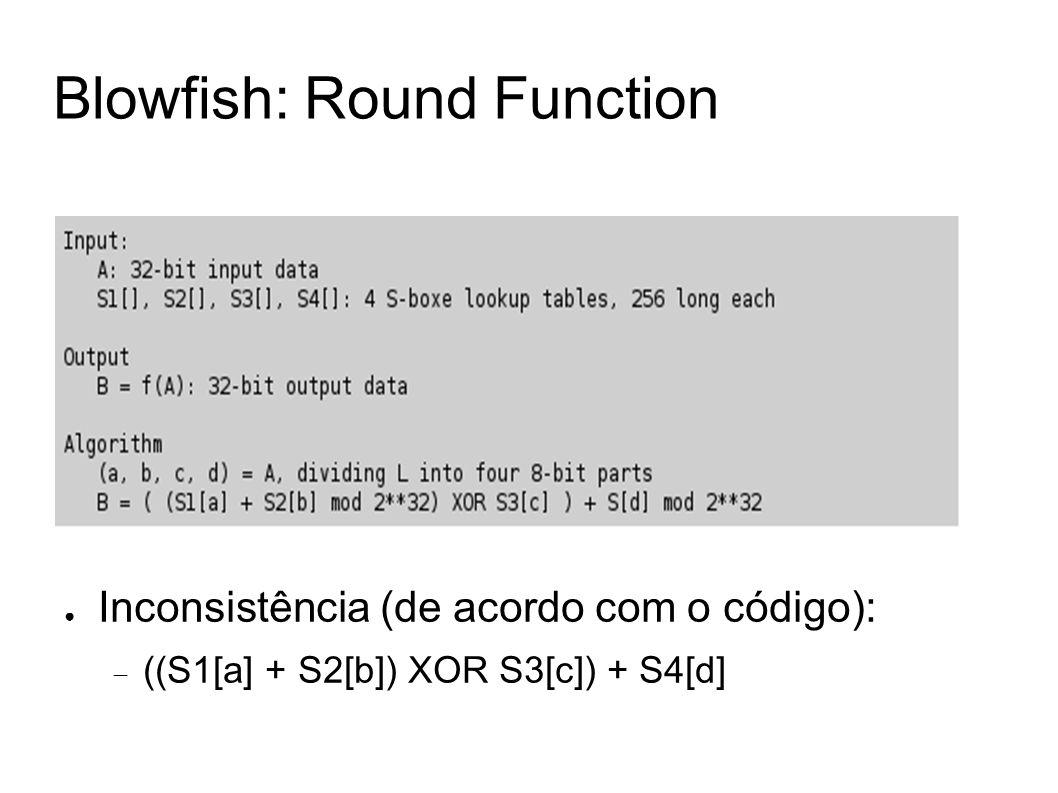 Blowfish: Round Function Inconsistência (de acordo com o código): ((S1[a] + S2[b]) XOR S3[c]) + S4[d]