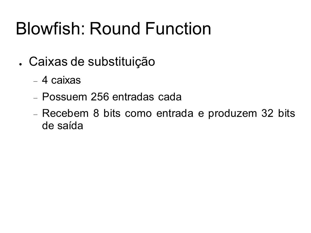 Blowfish: Round Function Caixas de substituição 4 caixas Possuem 256 entradas cada Recebem 8 bits como entrada e produzem 32 bits de saída