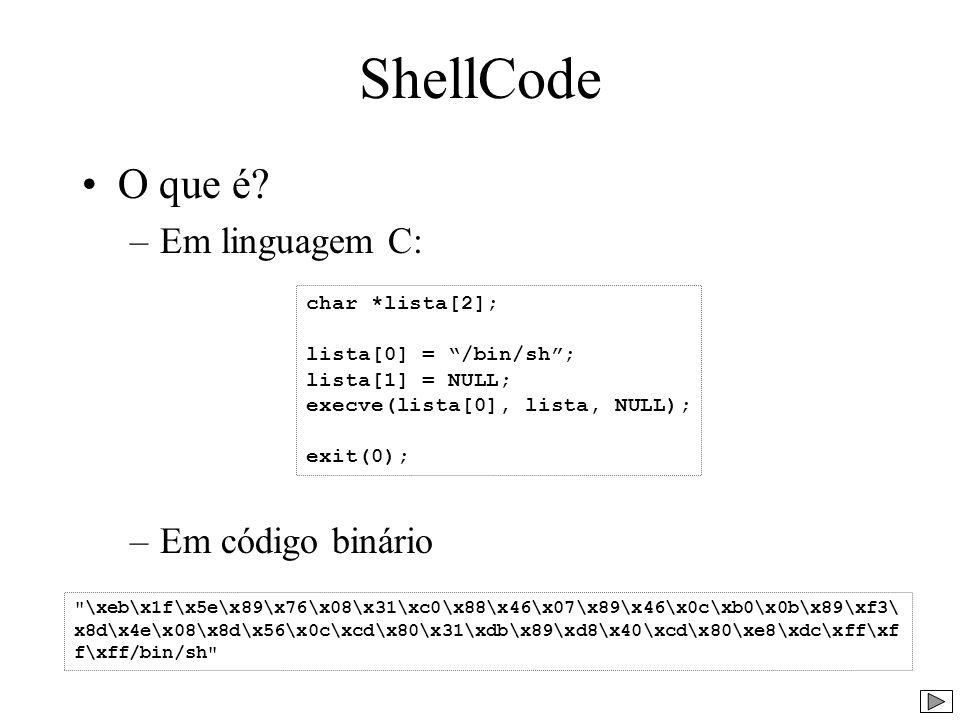 ShellCode O que é? –Em linguagem C: –Em código binário