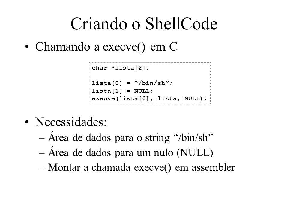 Criando o ShellCode Chamando a execve() em C Necessidades: –Área de dados para o string /bin/sh –Área de dados para um nulo (NULL) –Montar a chamada e