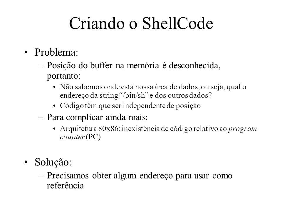 Criando o ShellCode Problema: –Posição do buffer na memória é desconhecida, portanto: Não sabemos onde está nossa área de dados, ou seja, qual o ender
