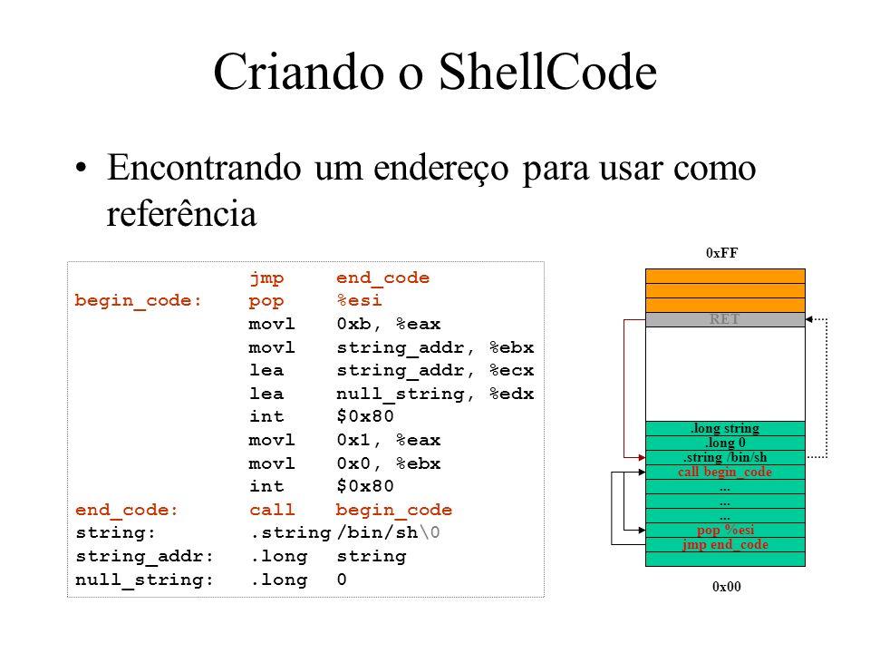 Criando o ShellCode Encontrando um endereço para usar como referência jmpend_code begin_code:pop%esi movl0xb, %eax movlstring_addr, %ebx leastring_add