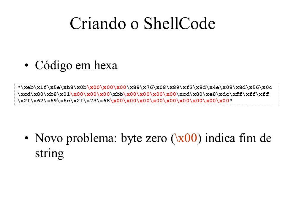 Criando o ShellCode Código em hexa Novo problema: byte zero (\x00) indica fim de string