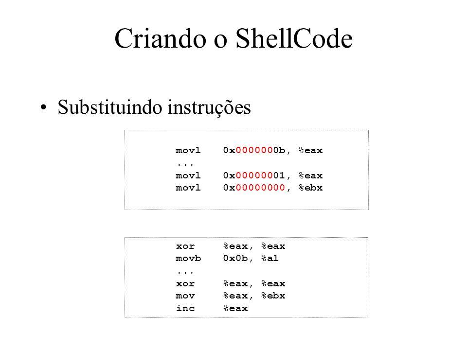 Criando o ShellCode Substituindo instruções movl0x0000000b, %eax... movl0x00000001, %eax movl0x00000000, %ebx xor%eax, %eax movb0x0b, %al... xor%eax,