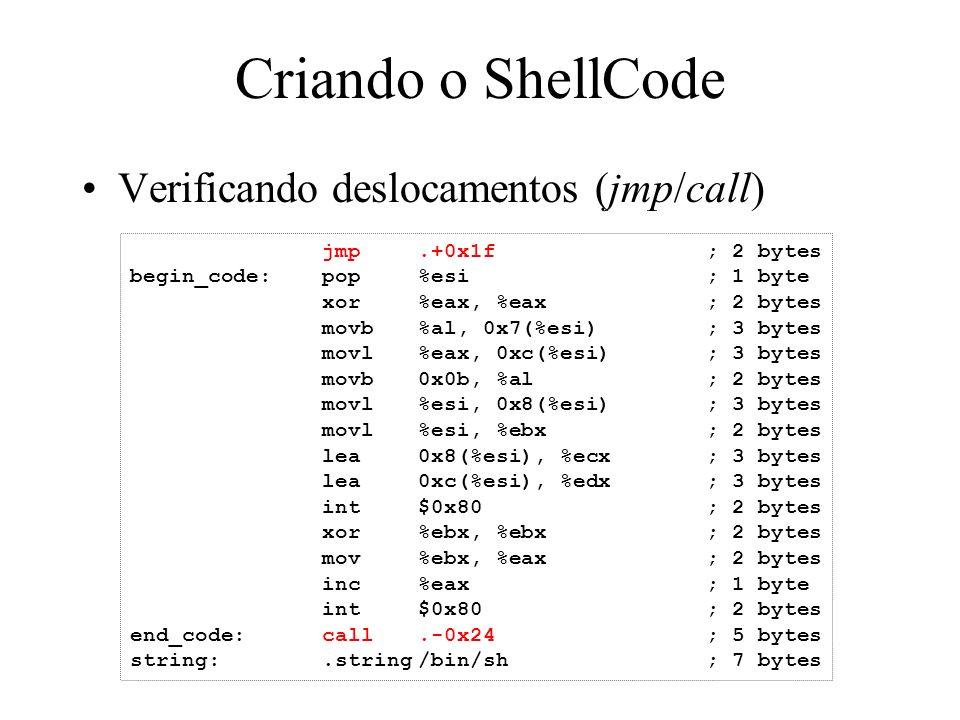 Criando o ShellCode Verificando deslocamentos (jmp/call) jmp.+0x1f; 2 bytes begin_code:pop%esi; 1 byte xor%eax, %eax; 2 bytes movb%al, 0x7(%esi); 3 by