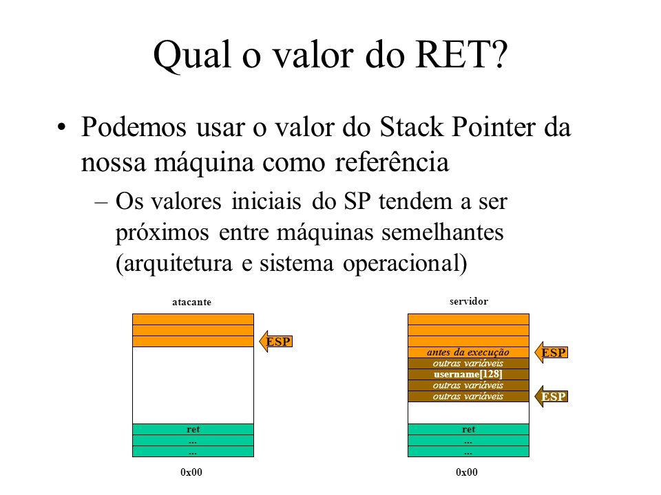 Qual o valor do RET? Podemos usar o valor do Stack Pointer da nossa máquina como referência –Os valores iniciais do SP tendem a ser próximos entre máq