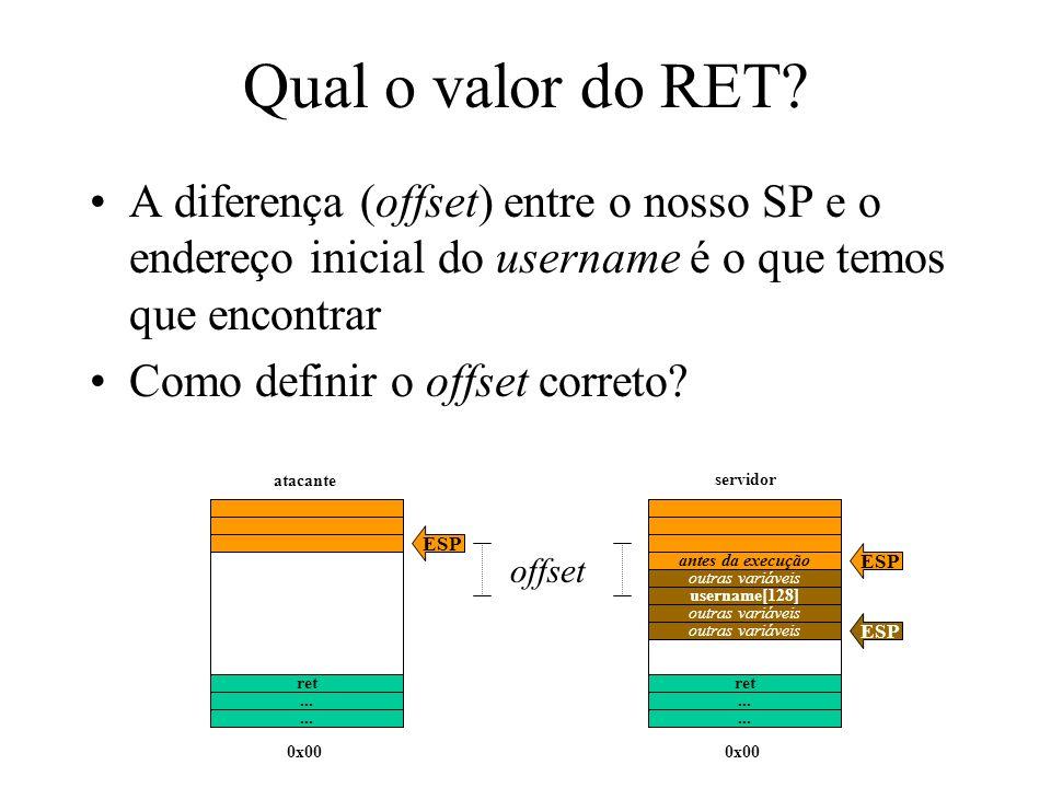 Qual o valor do RET? A diferença (offset) entre o nosso SP e o endereço inicial do username é o que temos que encontrar Como definir o offset correto?