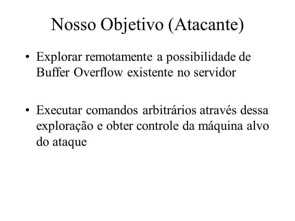 Nosso Objetivo (Atacante) Explorar remotamente a possibilidade de Buffer Overflow existente no servidor Executar comandos arbitrários através dessa ex