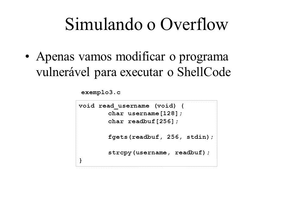 Simulando o Overflow Apenas vamos modificar o programa vulnerável para executar o ShellCode void read_username (void) { char username[128]; char readb