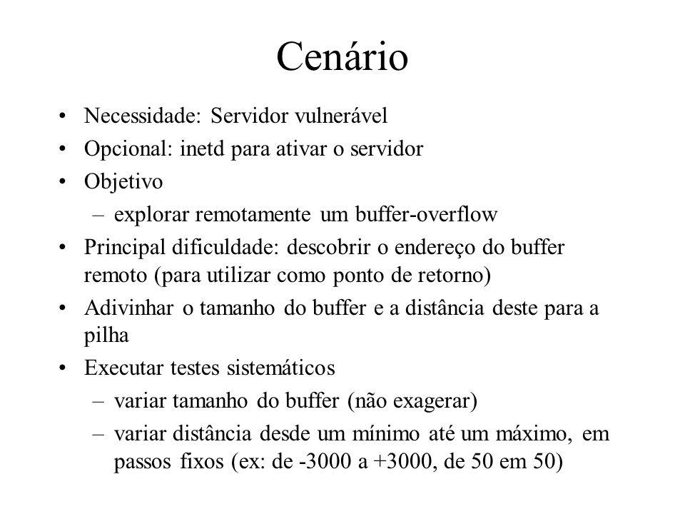 Cenário Necessidade: Servidor vulnerável Opcional: inetd para ativar o servidor Objetivo –explorar remotamente um buffer-overflow Principal dificuldad