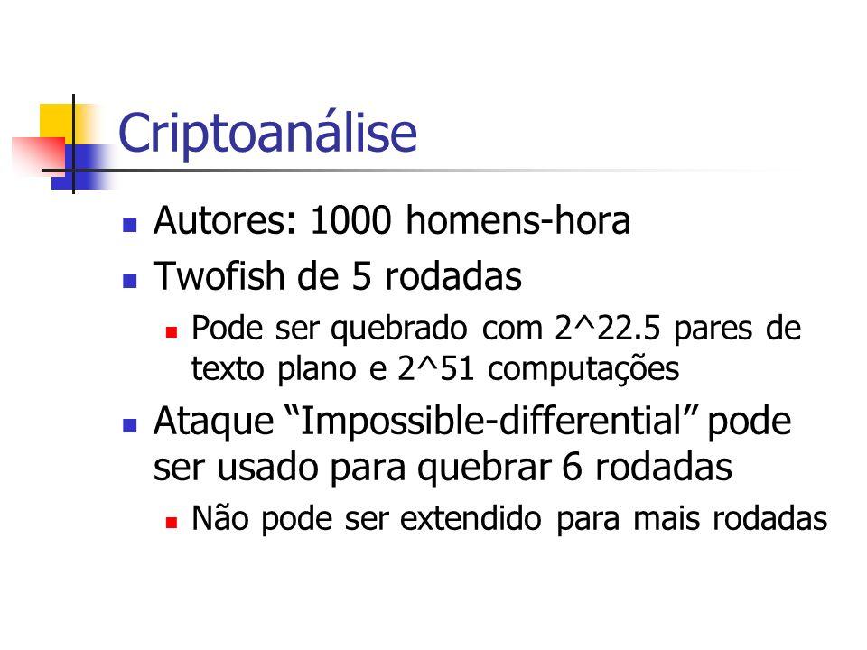 Criptoanálise Autores: 1000 homens-hora Twofish de 5 rodadas Pode ser quebrado com 2^22.5 pares de texto plano e 2^51 computações Ataque Impossible-di