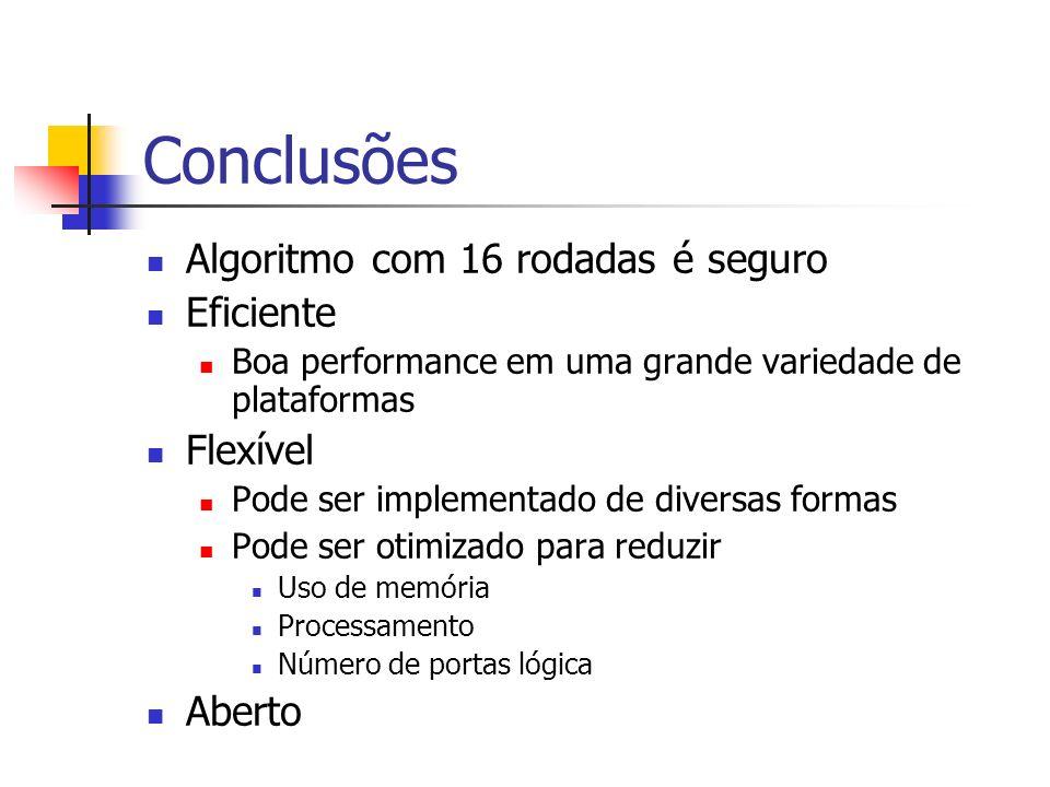 Conclusões Algoritmo com 16 rodadas é seguro Eficiente Boa performance em uma grande variedade de plataformas Flexível Pode ser implementado de divers