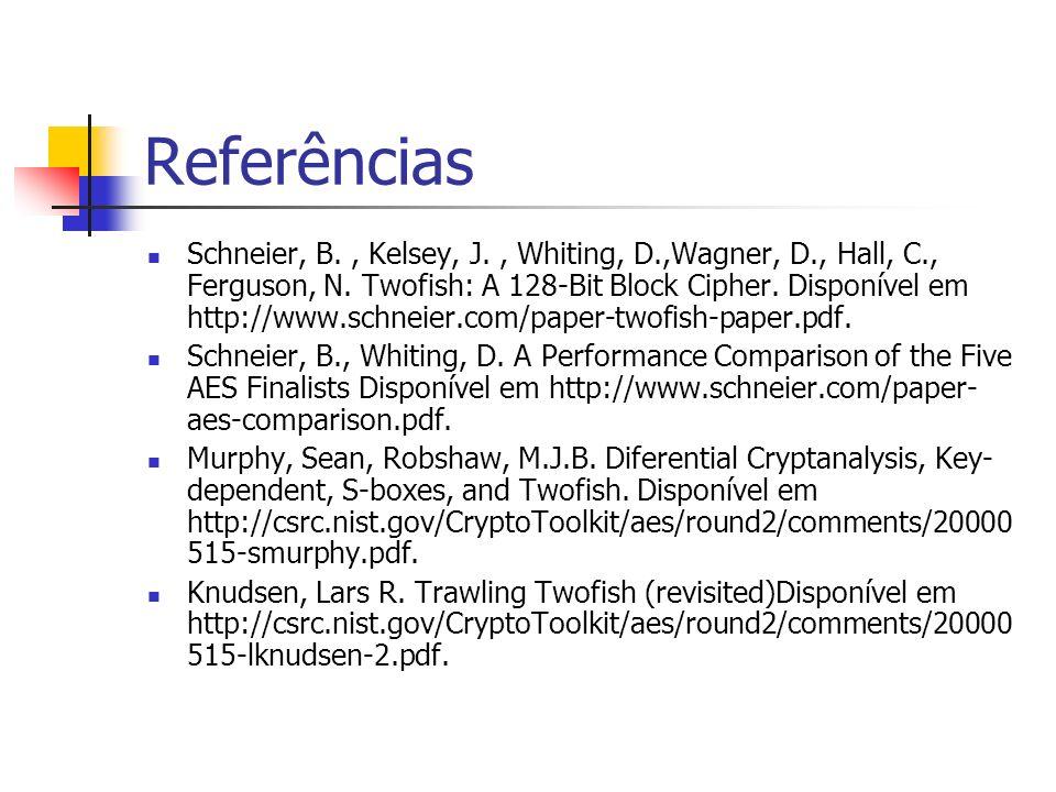 Referências Schneier, B., Kelsey, J., Whiting, D.,Wagner, D., Hall, C., Ferguson, N. Twofish: A 128-Bit Block Cipher. Disponível em http://www.schneie