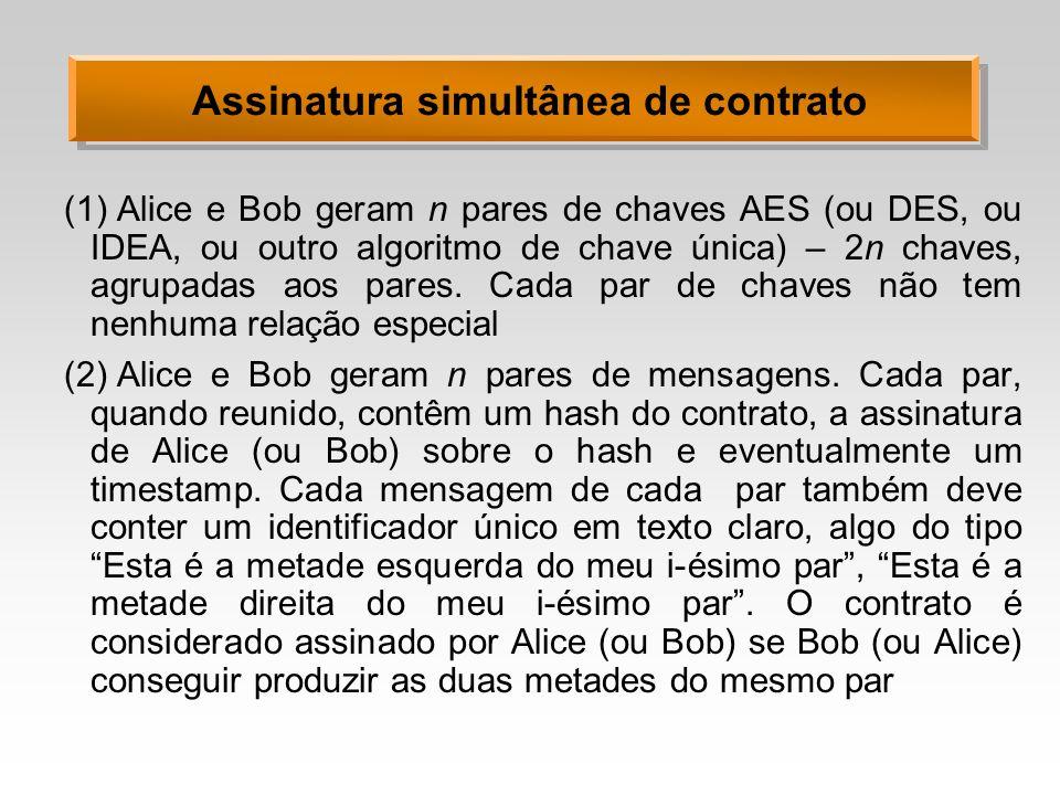 Assinatura simultânea de contrato (1)Alice e Bob geram n pares de chaves AES (ou DES, ou IDEA, ou outro algoritmo de chave única) – 2n chaves, agrupadas aos pares.
