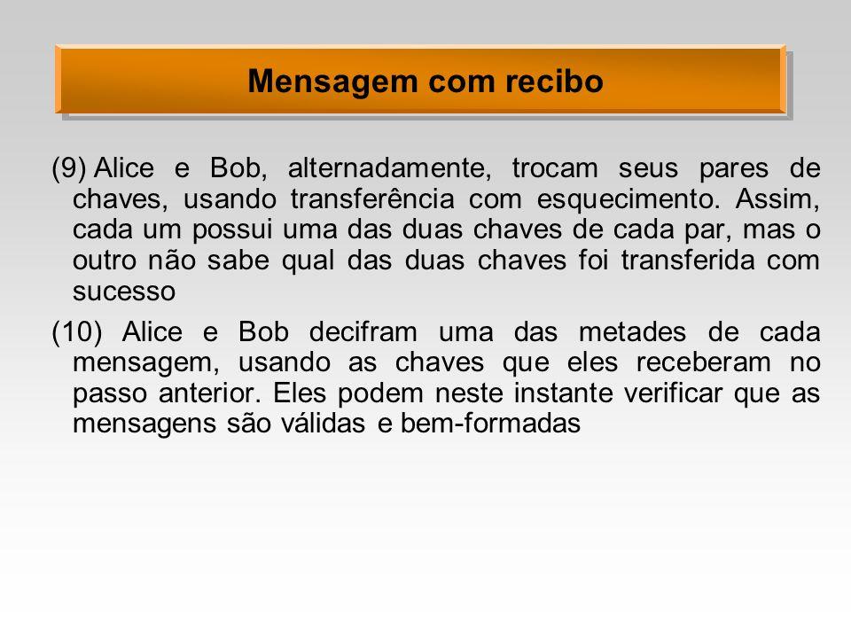 Mensagem com recibo (9)Alice e Bob, alternadamente, trocam seus pares de chaves, usando transferência com esquecimento. Assim, cada um possui uma das