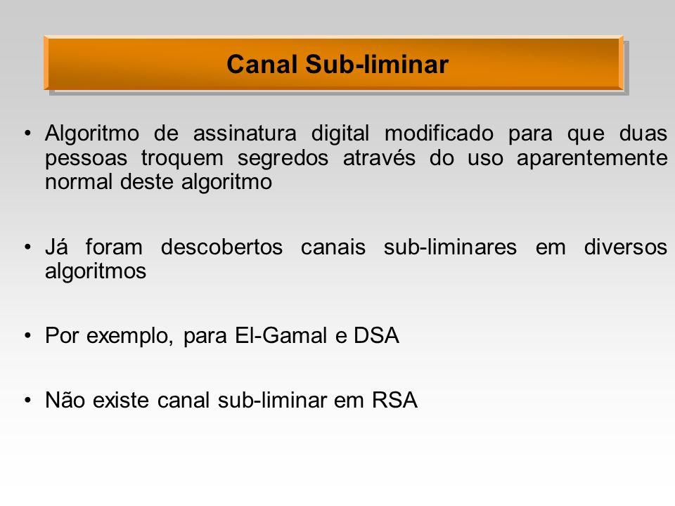 Algoritmo de assinatura digital modificado para que duas pessoas troquem segredos através do uso aparentemente normal deste algoritmo Já foram descobertos canais sub-liminares em diversos algoritmos Por exemplo, para El-Gamal e DSA Não existe canal sub-liminar em RSA