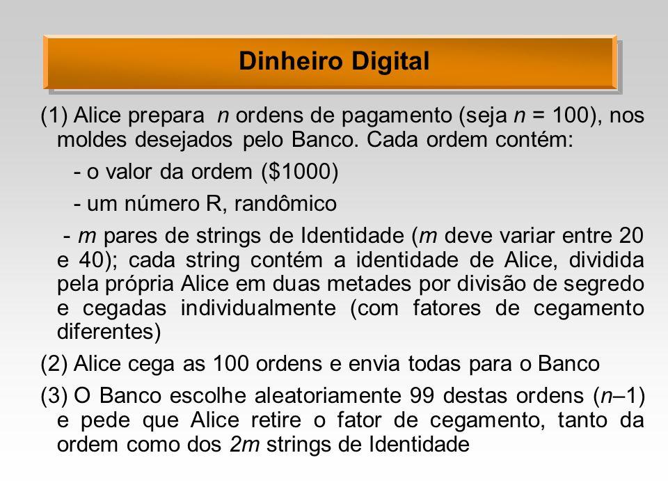 Dinheiro Digital (1)Alice prepara n ordens de pagamento (seja n = 100), nos moldes desejados pelo Banco. Cada ordem contém: - o valor da ordem ($1000)