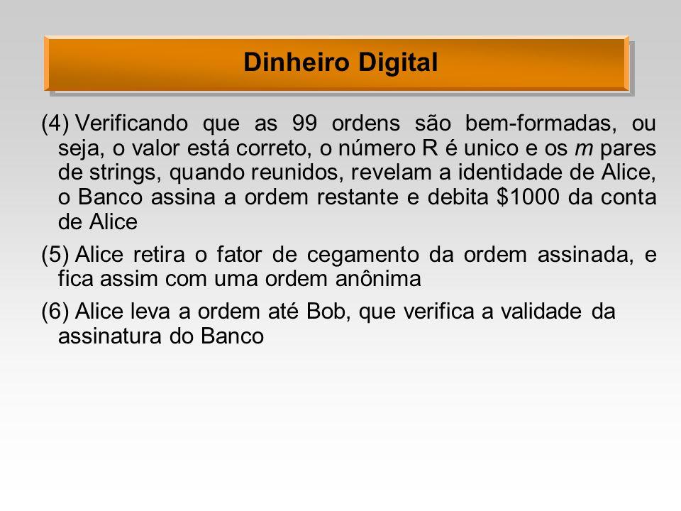 Dinheiro Digital (4)Verificando que as 99 ordens são bem-formadas, ou seja, o valor está correto, o número R é unico e os m pares de strings, quando r