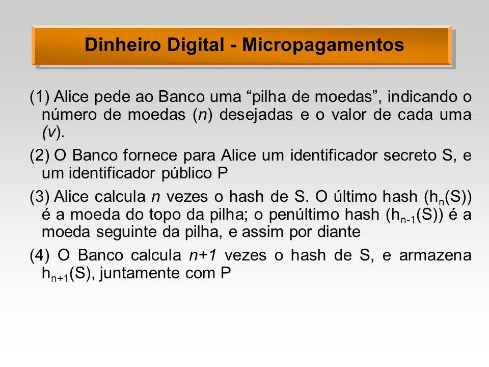 Dinheiro Digital - Micropagamentos (1)Alice pede ao Banco uma pilha de moedas, indicando o número de moedas (n) desejadas e o valor de cada uma (v). (