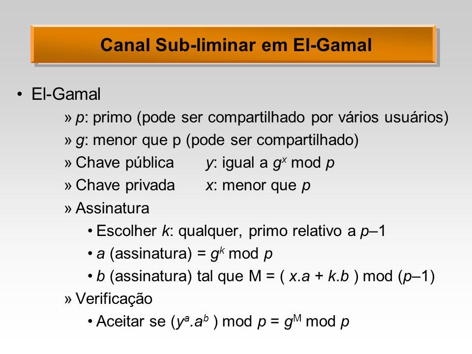 Canal Sub-liminar em El-Gamal El-Gamal »p: primo (pode ser compartilhado por vários usuários) »g: menor que p (pode ser compartilhado) »Chave públicay: igual a g x mod p »Chave privadax: menor que p »Assinatura Escolher k: qualquer, primo relativo a p–1 a (assinatura) = g k mod p b (assinatura) tal que M = ( x.a + k.b ) mod (p–1) »Verificação Aceitar se (y a.a b ) mod p = g M mod p