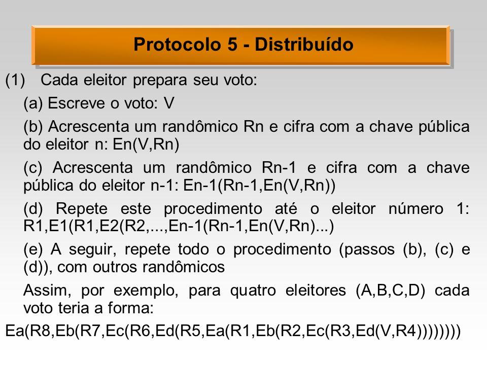 Protocolo 5 - Distribuído (1)Cada eleitor prepara seu voto: (a) Escreve o voto: V (b) Acrescenta um randômico Rn e cifra com a chave pública do eleitor n: En(V,Rn) (c) Acrescenta um randômico Rn-1 e cifra com a chave pública do eleitor n-1: En-1(Rn-1,En(V,Rn)) (d) Repete este procedimento até o eleitor número 1: R1,E1(R1,E2(R2,...,En-1(Rn-1,En(V,Rn)...) (e) A seguir, repete todo o procedimento (passos (b), (c) e (d)), com outros randômicos Assim, por exemplo, para quatro eleitores (A,B,C,D) cada voto teria a forma: Ea(R8,Eb(R7,Ec(R6,Ed(R5,Ea(R1,Eb(R2,Ec(R3,Ed(V,R4))))))))