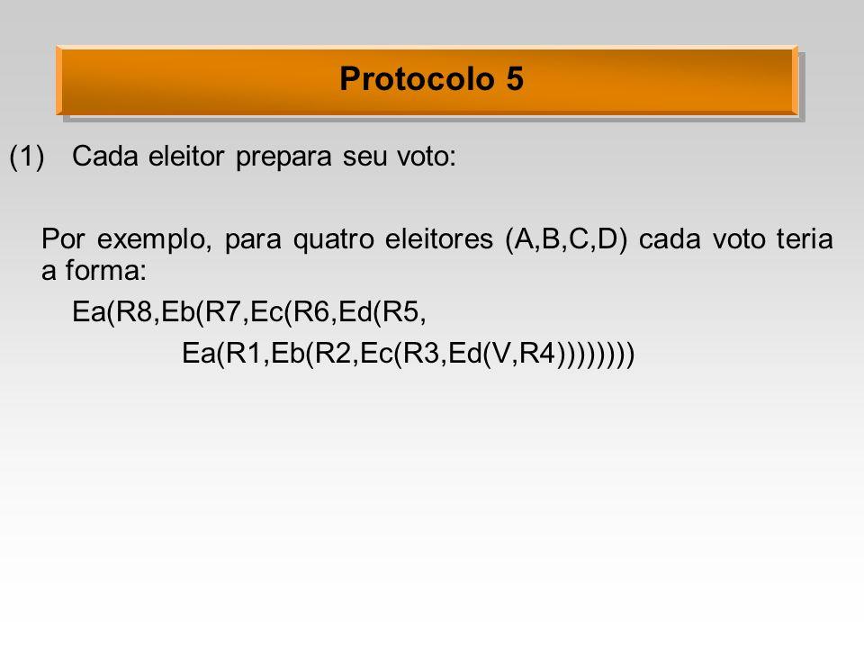 Protocolo 5 (1)Cada eleitor prepara seu voto: Por exemplo, para quatro eleitores (A,B,C,D) cada voto teria a forma: Ea(R8,Eb(R7,Ec(R6,Ed(R5, Ea(R1,Eb(R2,Ec(R3,Ed(V,R4))))))))
