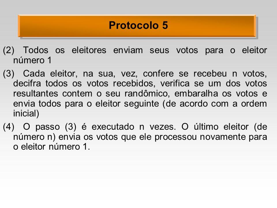 Protocolo 5 (2)Todos os eleitores enviam seus votos para o eleitor número 1 (3)Cada eleitor, na sua, vez, confere se recebeu n votos, decifra todos os votos recebidos, verifica se um dos votos resultantes contem o seu randômico, embaralha os votos e envia todos para o eleitor seguinte (de acordo com a ordem inicial) (4)O passo (3) é executado n vezes.