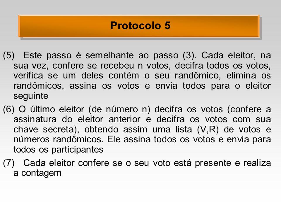 Protocolo 5 (5)Este passo é semelhante ao passo (3). Cada eleitor, na sua vez, confere se recebeu n votos, decifra todos os votos, verifica se um dele