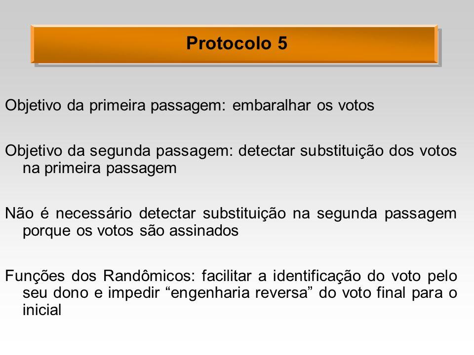 Protocolo 5 Objetivo da primeira passagem: embaralhar os votos Objetivo da segunda passagem: detectar substituição dos votos na primeira passagem Não