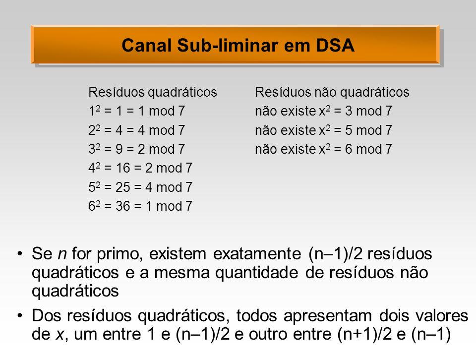Canal Sub-liminar em DSA Para Alice e Bob trocarem um bit sub-liminarmente, eles só necessitam escolher um valor para um primo n qualquer Para transmitir o valor 1, Alice escolhe um valor de k para o qual r seja um resíduo quadrático em módulo n; e para transmitir o valor 0, escolhe k tal que r seja um resíduo não quadrático Ela faz isto assinando a mensagem com valores randômicos de k até obter o valor de a adequado Como resíduos quadráticos e não quadráticos existem em igual quantidade, esta tarefa não é complexa Ao receber a mensagem, Bob verifica a validade da assinatura e depois recupera o valor do bit transmitido sub- liminarmente testando se r é ou não um resíduo quadrático em módulo n.